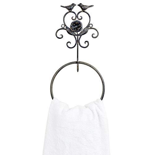 Dibor - French Style Accessories For The Home Vintage Rose Corazn Pjaros toallero de Anilla H35x 13,5cm marrn bao...