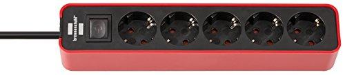 Brennenstuhl Ecolor regleta enchufes con 5 tomas corriente (cable de 1.5 m, con interruptor) color rojo/negro