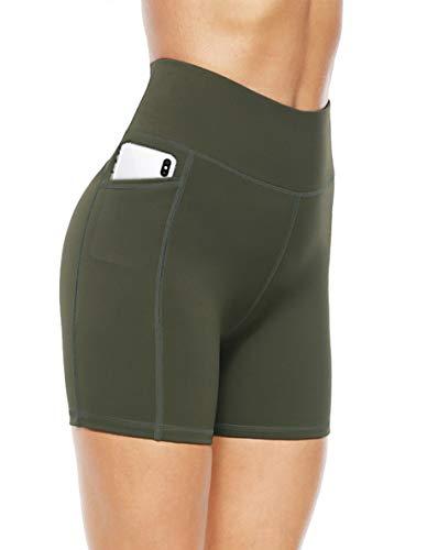 JOYSPELS Shorts Deportivos Pantalones Cortos de Ciclismo para Mujer Leggings Cortos de Cintura Alta, Armygreen, XL