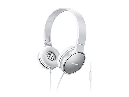PANASONIC 2-Tone Color Foldable Headphones with Microphone, Call Controller and 3.9 ft Audio Cord Compatible with iPhone, BlackBerry, Android - RP-HF300M-W - On-Ear Headphones (Silver/White)