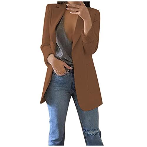 Zldhxyf Blazer, giacca da donna a maniche lunghe, elegante, in lino, tinta unita, con...