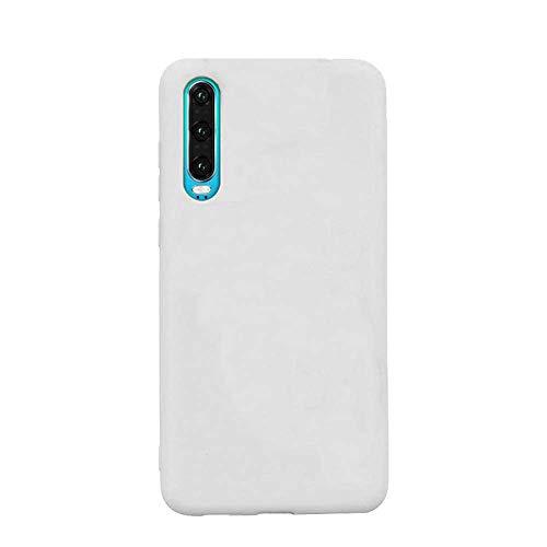 cuzz Funda para Samsung Galaxy A50+{Protector de Pantalla de Vidrio Templado} Carcasa Silicona Suave Gel Rasguño y Resistente Teléfono Móvil Cover-Blanco