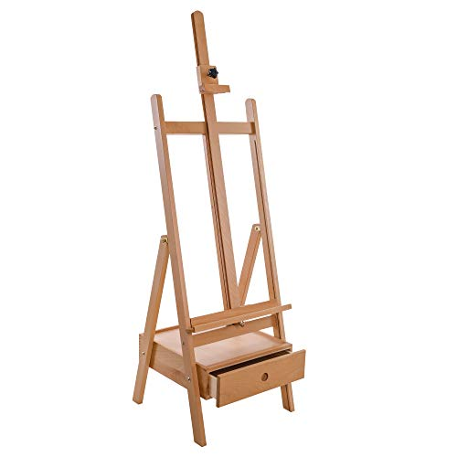 """U.S. Art Supply Nantucket Extra Large Wooden H-Frame Studio Easel with Artist Storage Drawer and Shelf - Mast Adjustable to 86"""" High, Sturdy Beechwood Canvas Holder Stand - Painting, Drawing Sketching"""