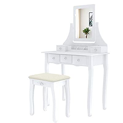 Mecor Makeup Vanity w/Square Mirror, White Vanity Set with Cushioned Stool,Wood Dressing Table with 5 Drawers,3 Removable Dividers Girls Women Bedroom Bathroom Makeup Furnitures
