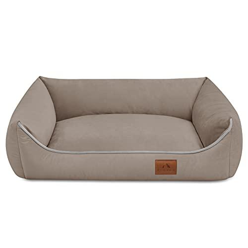 FUUFEE Cama para perros de Hundesofa, con funda extraíble con cremallera, lavable, color marrón, 70 x 50 cm S