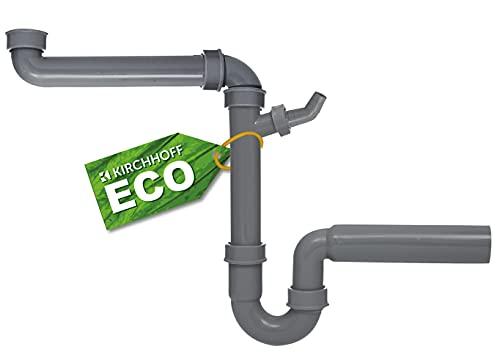 KIRCHHOFF ECO-SAVE Raumspar Siphon Küchenspüle, Abfluss für Spüle Küche aus recyceltem Kunststoff, Ablaufgarnitur mit Anschluss für Waschmaschine oder Geschirrspüler 98833649, Grau