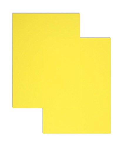 100 Stück, Farbiges Briefpapier, DIN A4, 80 g/qm Colorista, Gelb, Blanke Briefhüllen