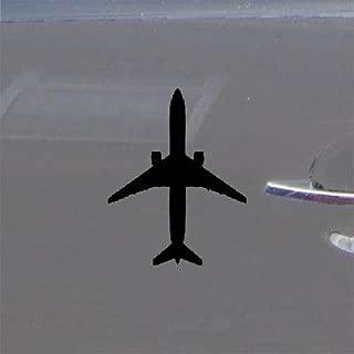 reprowiwi Boeing 777 300 Jet Airliner Decoration MacBook Sticker Wall Art Adhesive Vinyl Window AUTO Bike Black CAR Helmet Art Wall CAR Home Decor DIE Cut