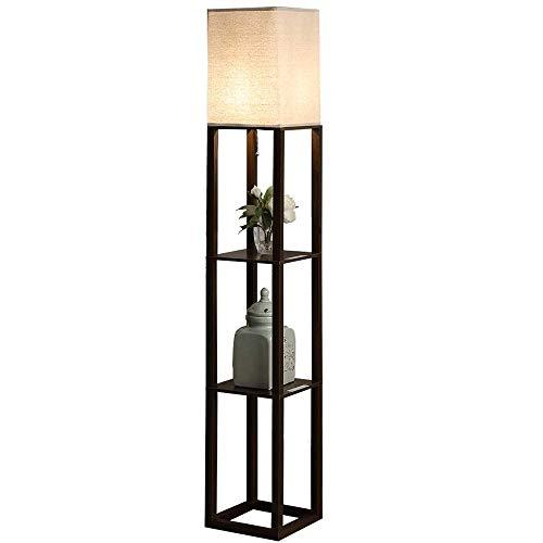 QIANGUANG Iluminación interior 1.6m Lámpara de pie de madera con estantes Teléfono con toma de carga USB para sala de estar del dormitorio (sin bombilla) (Negro)