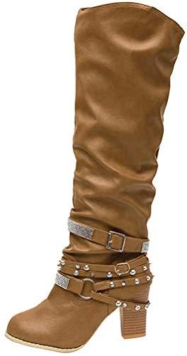 Minetom Damen Hohe Stiefel Winter Sexy Mode Casual High Heels Boots Blockabsatz Niet Schnalle Leder Lange Stiefel Schuhe Khaki 43 EU