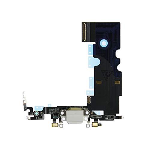 OnlyTech - Conector de Carga de Repuesto Compatible con iPhone 8 - Dock de Repuesto con Cable Flex, Micrófono y Antena. Color Blanco