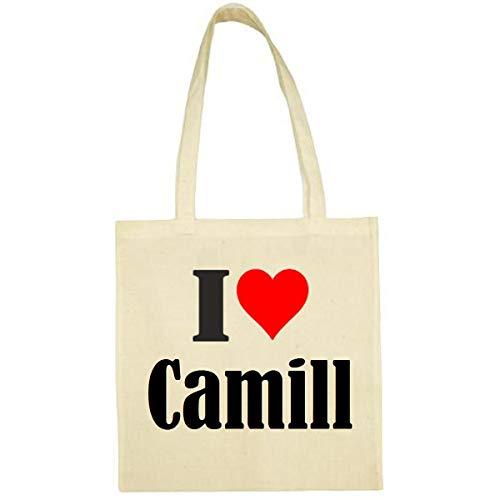 Tasche I Love Camill Größe 38x42 Farbe Natur Druck Schwarz