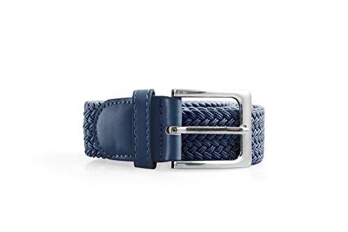 RUBEM Cinturón elástico y trenzado tejido con hebilla plata cuadrad sólido para hombres y mujeres