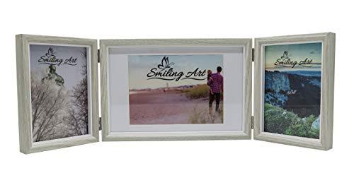 Smiling Art klappbarer Bilderrahmen für 3 Fotos in Querformat und Hochformat (Hellgrau, 2x13x18 cm + 1x15x20 cm)