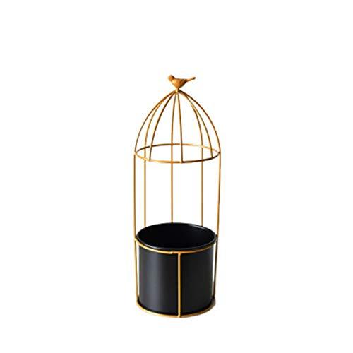 XYJNN Maceteros-macetas Balcon Soporte De Planta De Metal | Soporte De Maceta De Hierro | Jaula De Oro | Soporte para Plantas | Flores De Jardín (Color : Black, Size : 41x14cm)