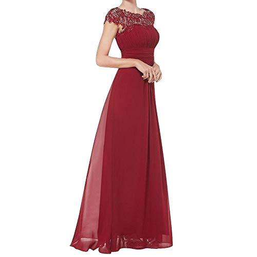 YEBIRAL Damen Kleid Festliche Kleider Brautjungfer Hochzeit Spitzenkleid Cocktailkleid Chiffon Faltenrock Maxikleid Elegant Langes Abendkleid(L,Rot)