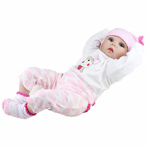 AFYH Reborn Baby,Simulation Baby - Wiedergeburtspuppe - Soft-Tape-Body-Girl-Spielzeug - unempfindlich gegen Biss - sichere und harmlose realistische 22-Zoll-Puppe