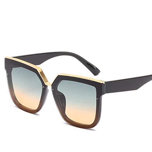 YOULIER Gafas de sol cuadradas Hombres y Mujeres Tendencia Moda Metal Accesorios Gafas Gafas De Sol Negro Oversize Gafas Uv400 5730-4