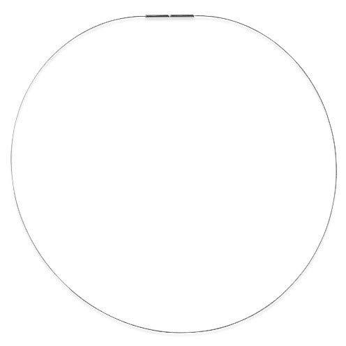 Drachenfels Luxus Halsreif aus Edelstahl | Stahlreif mit Bajonettverschluss aus 925 Sterling Silber | Stahlseil für Anhänger | Länge 40 cm, Stahlseil Ø 1 mm