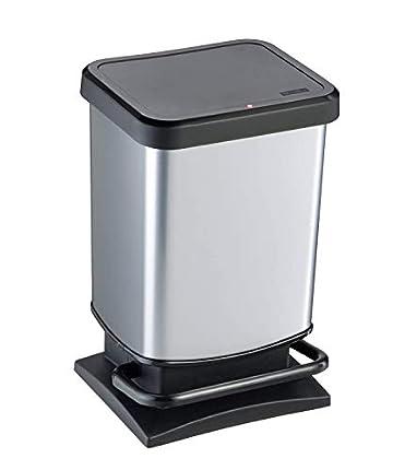 Rotho Paso, Cubo de basura de 20l con tapa, Plástico PP sin BPA, plata metálica, 20l 29.3 x 26.6 x 45.7 cm
