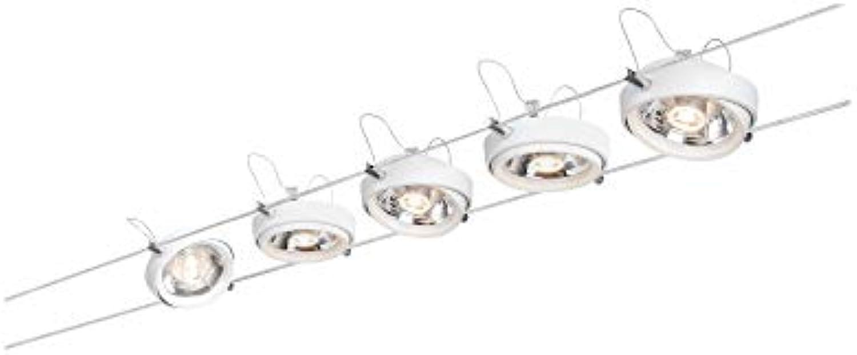 Paulmann 94200 Seil-System Powerline II Seillampe Komplettset LED Spot 2700 K Warmwei 5x8W G53 Wei 230 12V 80VA Deckenlampe inkl. Leuchtmittel, Metall, 40 W