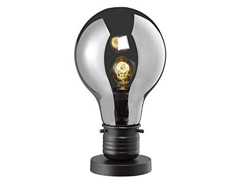 Coole LED tafellamp hoogte 37 cm met glazen kap van rookglas, retro tafellamp in design gloeilamp