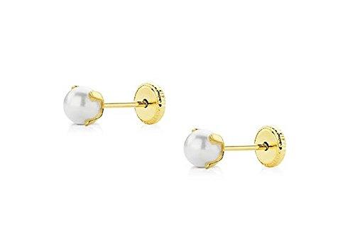Pendientes de bebé de oro de 18 Klts M.A-PEN-01 (Perlas)