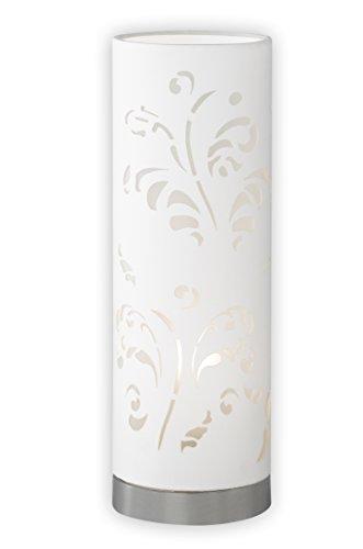 Fischer & Honsel Tischleuchte Flora 1x E14 max. 25,0 Watt, chromfarben, Stoffschirm, 56001, 12 x 12 x 35 cm (LxBxH)