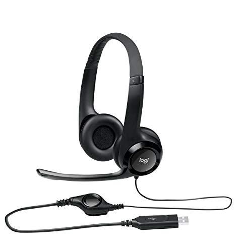 Logitech H390 Kopfhörer mit Mikrofon, Stereo-Headset, Mikrofon mit Rauschunterdrückung, Integrierte Bedienelemente, USB-Anschluss, Gepolsterter Bügel und Ohrpolster, PC/Mac/Laptop/Chromebook