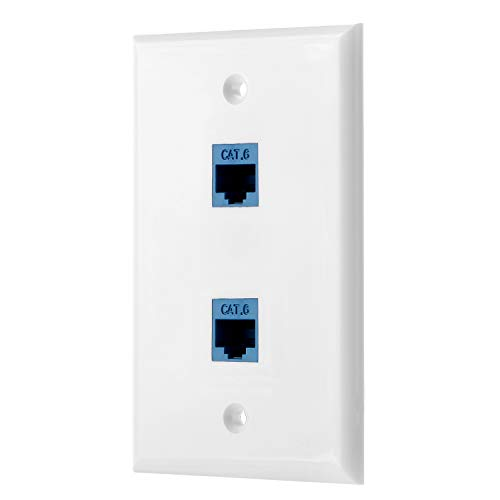 Sancable - Ethernet Wall Plate, 2 Port Cat6 Keystone Female to Female - White