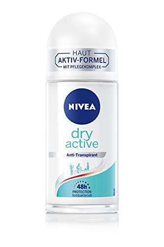 NIVEA Dry Active Deo Roll-On (50 ml), Anti-Transpirant mit 48h Schutz und Dual-Active-Formel, Anti-Transpirant Roll-On mit femininem, frischem Duft