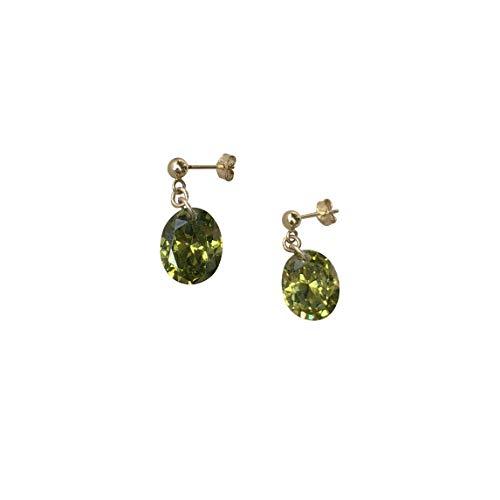 Haespsd Oorbellen, 14 karaat goud, zirkonia, groen, olijf, hoogwaardig, decoratie, elegante jurk