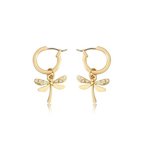 QIN Orecchini a Cerchio Carini di Alta qualità Orecchini a Forma di Libellula Color Oro per Donne e Ragazza Miglior Regalo