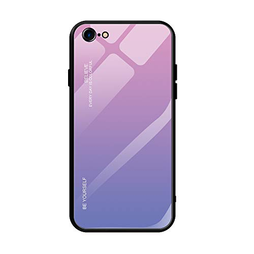AIsoar Compatible with iPhone 6 Plus/6s Plus Colored Gradient Tempered Glass Case,Tempered Glass Back Cover + Soft TPU Bumper Frame Shockproof Anti-Scratch Protective Cover (Pink + Purple)