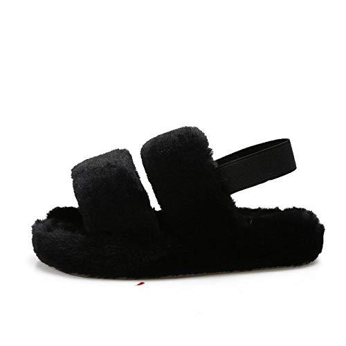 HUSHUI CáLido Zapatos Memory AlgodóN,Zapatillas cálidas Antideslizantes de Fondo Grueso, Felpa Interior algodón-Negro_36-37,Invierno Cálido Pantuflas Memoria