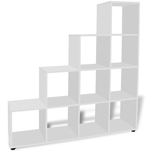 Tidyard Librería de Madera con Cubos y estantes Abiertos, Estantería para Libros Independiente Estantería librería en Forma de Escalera 142 cm Blanca