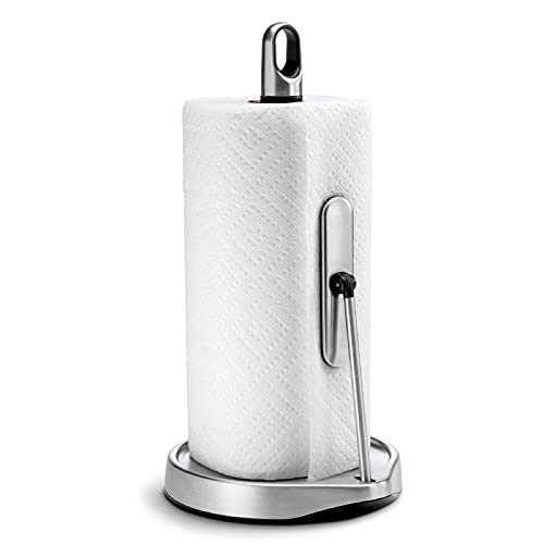 simplehuman Tension Arm Standing Paper Towel Holder, Brushed Stainless Steel