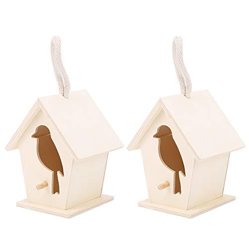 OKAT Gabbia per Uccelli, casetta per Uccelli da Appendere, casetta per Uccelli, Ornamento, casetta per Uccelli in Legno per Balcone da Giardino, Cortile per Cockatiels Bluebird