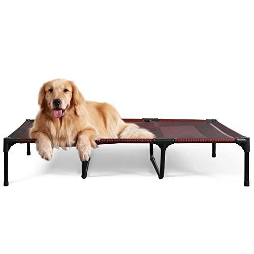 ANWA Erhöhtes Hundebett für Garten draußen, Hundeliege Outdoor Grosse Hunde, Hundebett für große Hunde höhe in 20cm ROT