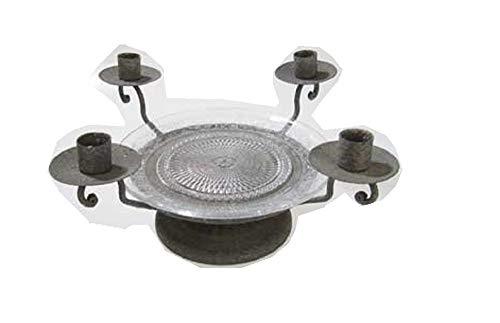 Kerzenhalter 4-fach mit Teller 25,5 x 25,5 x 14,5 cm grau