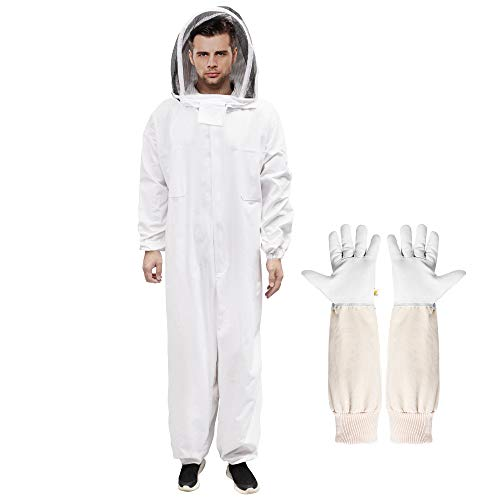 IPHUNGO Professional Beekeeping Suit with Sheepskin Gloves & Ventilated Veil Hood Hat, Cotton Full Body Bee Keeper Costume Supplies Protective Smock for Men, Women, Backyard & Beginner Beekeepers, XL
