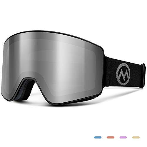 OutdoorMaster Ski Goggles - Interchangeable Lens with Flat, Cylindrical Style, OTG, Anti-Fog & 100% UV400 Protection - for Men, Women & Youth - Grey Frame + VLT 10% Grey Lenses