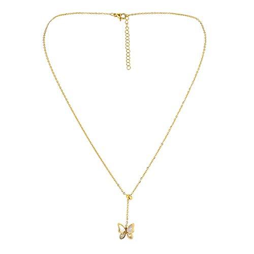 SJHFG Collar con colgante de mariposa de cristal de acero inoxidable con forma de mariposa pequeña
