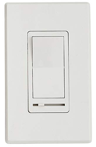 LED Dimmer Switch with Faceplate Cover | Magnetic Low Voltage Dimmable Electrical Light Switch for LED Lights in Wall Include Wallplate White