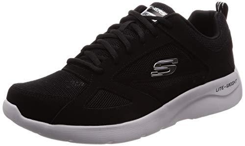 Skechers Dynamight 2.0-Fallford, Scarpe da Ginnastica Uomo, Nero (Black Leather/Mesh/Pu/Trim Blk), 40 EU