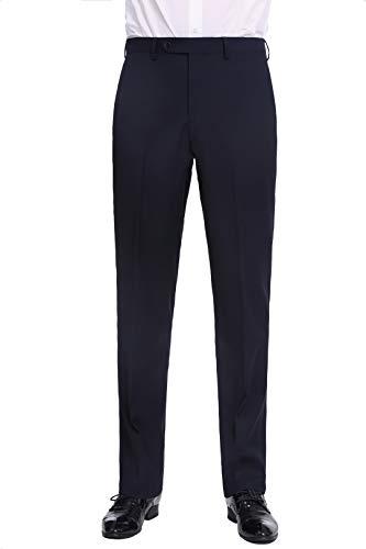 P&L Men's Premium Classic Fit Flat Front Suit Pants Navy