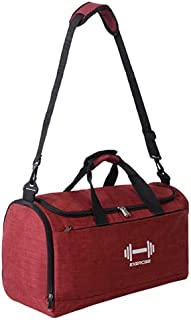 Fitness Bags Dry Wet Separated Sport Gym Bag Duffle Holdall Training Bag Yoga Travel Handbag with Shoes Compartment (Red)