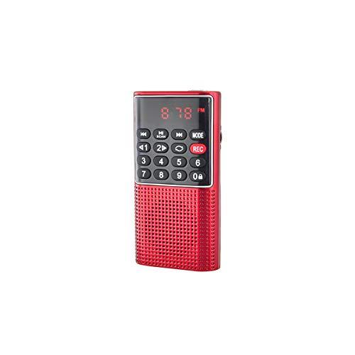 Radio de Bolsillo Recargable FM, Lector de Tarjeta Micro SD RMS 3 W, Conector para Auriculares, Color Rojo