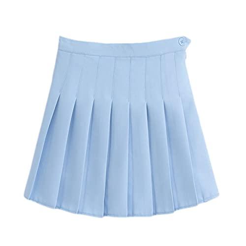 MeterBew1147 Falda Plisada de Moda de Color sólido con Pantalones Cortos de Seguridad Falda Ajustada de Cintura Alta para Falda Corta de Uniforme de Colegiala Femenina - Azul S