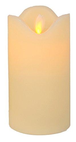 eine LED Kerze bewegliche Flamme elfenbein Kerze in Echtwachs (14;5 cm)